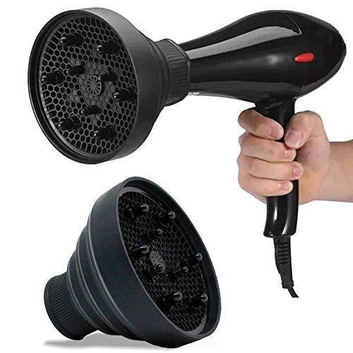 Diffusore da Viaggio per Asciugacapelli, Diffusore Universale Pieghevole Hair Diffusore Universale Adattabile per Asciugacapelli per Asciugacapelli Portatile per Capelli Ondulati Ricci - Nero