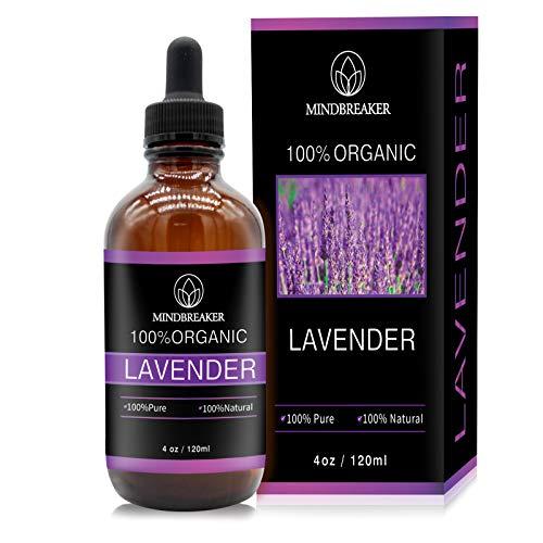 Olio essenziale di lavanda, Mindbreaker 100% Puro olio di grado terapeutico, olio essenziale, sonno migliore, aromaterapia, antinfiammatorio, allevia il mal di testa (120 ml Upgrade)