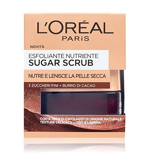 L'Oréal Paris Detergenza Sugar Scrub Esfoliante Nutriente Viso & Labbra con Cristalli Fini di Zucchero + Burro di Cacao, 50 ml
