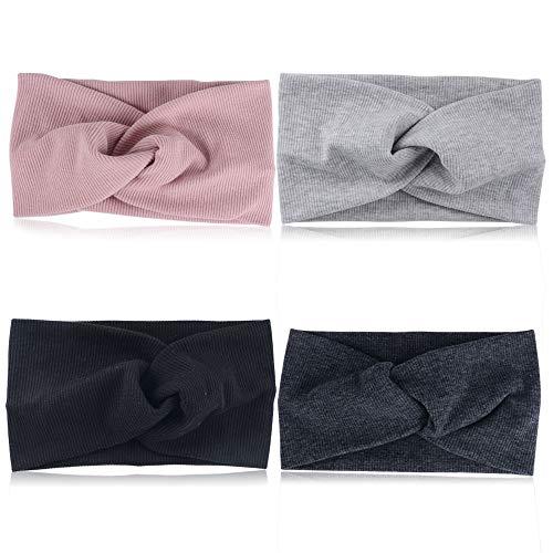 JNCH Fasia Capelli 4pz Fasce Femminili Fermacapelli Turbante della Testa Cerchietti Accessori dei Capelli per Donna Ragazza Sport Yoga Fascia Elastica Sportiva 4 Colori