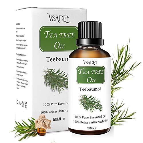 Tea Tree Olio Essenziale 50ml 100% Naturale Olio Essenziale di Albero del Tè per Aromaterapia Diffusore, Viso e Corpo Trattamento Per Acne