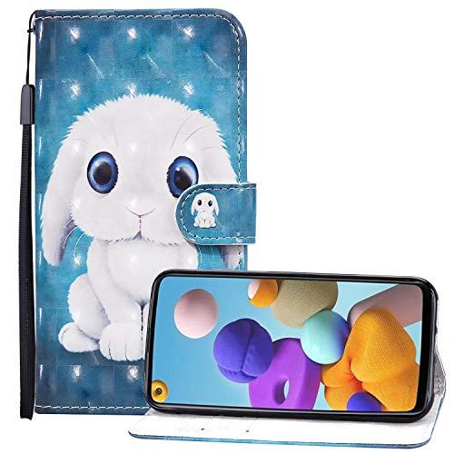 Nadoli 3D Effetto Portafoglio Custodia per Samsung Galaxy A21,Carino Bianca Coniglio Disegno Pelle Chiusura Magnetica Cinturino da Polso Flip Custodia con Funzione Stand