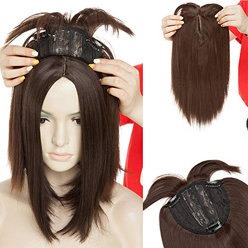 Hair Topper Donna Clip Extension Capelli Toupet Protesi 28cm Hair Toupee Base Crochet 4 * 2 Parrucca 95g - Castano Medio