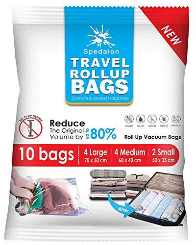Travel roll Up Bags – Confezione da 10 (grande a medio) | più Storage allora qualsiasi marca. Roll-up Compression Storage (non necessita vuoto) & PACKING organizzatori | Ideale per viaggi e panni