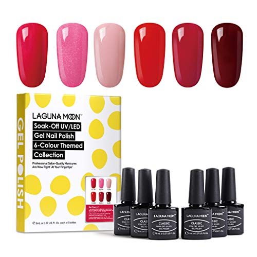 Lagunamoon Smalto in Gel UV LED, 6pcs Smalto Semipermanente per Unghie Set per Manicure - Be cherry!