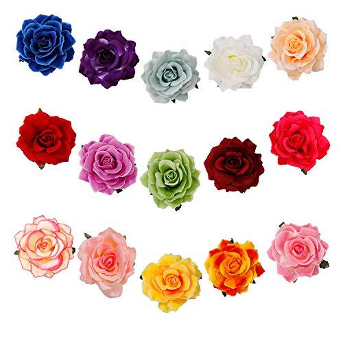 Fiori per Capelli Rosa Clip di Fiori Multicolore Nuziale Fiore Capelli Clip Spiaggia Fermagli Capelli Barrette Accessori Festa di Nozze per Donna 15 Pezzi