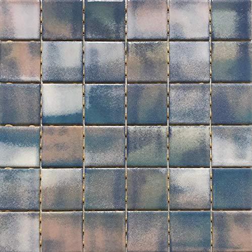Mosaico su rete in gres porcellanato ceramico, Made in Italy - LE POLVERI 109 AZZURRO ROSA