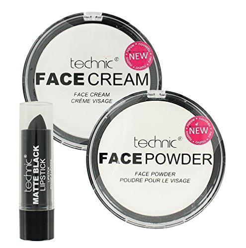 Technic, set per make-up di Halloween, fondotinta bianco in crema, cipria bianca e nero rossetto opaco