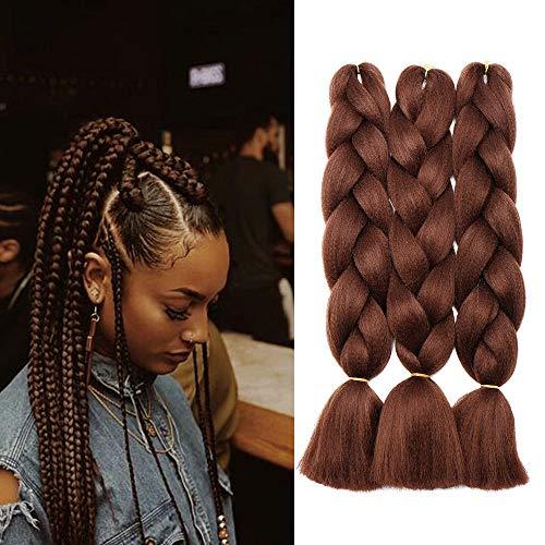 SEGO 60cm Extension Treccine Capelli Finti Lunghi Braids Hair Treccia Fibre 3 Bundle 100g/PZ, Confezione da 3, Castano Ramato Scuro
