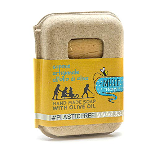 Saponetta Artigianale e 100% Naturale - Sapone per Viso, Mani, Corpo e Capelli - Proprietà Idratanti, Adatto alla Pelle Delicata del Viso - 100 g, Miele