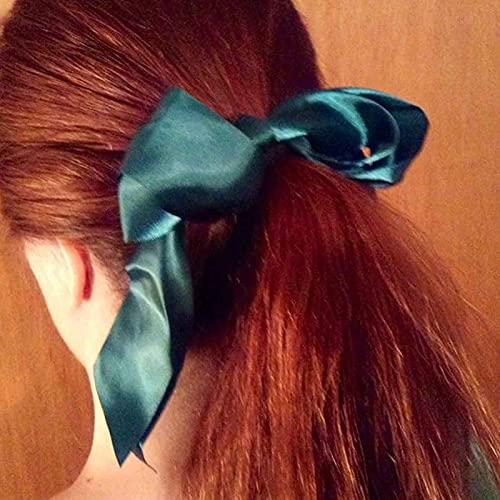 Yheakne - Fermaglio per capelli in seta, con fiocco, in raso, colore: verde smeraldo