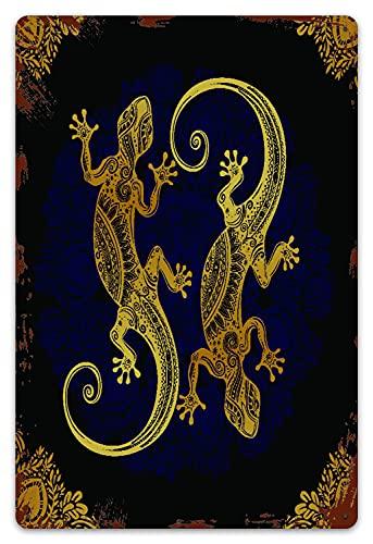 DECISAIYA Targhe in Metallo Vintage Placca Poster Mandala Artistico Geco Lucertole Boho Quadro Tropicale Stile Tatuaggio all'henné Decorativa Appendere Quadro per Bar Pub Arredo Murale 20x30cm