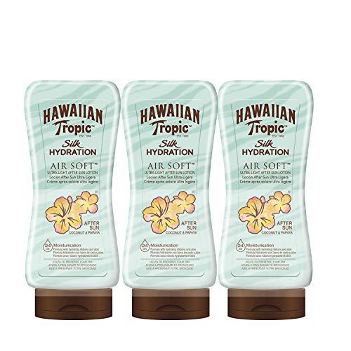 Hawaiian Tropic - Lozione Doposole Silk Hydration Air Soft, Confezione da 3 pezzi da 180 ml cadauno