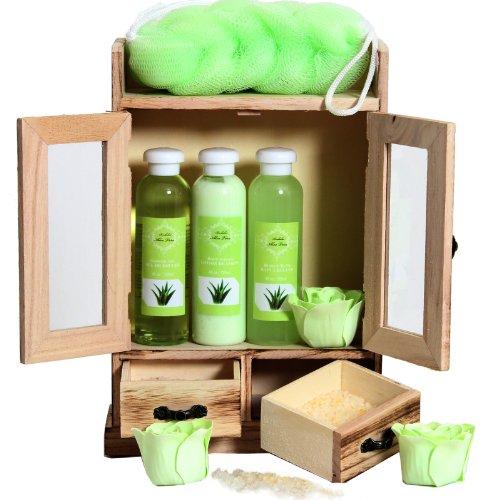 BRUBAKER Cosmetics set beauty da bagno e igiene personale aloe vera in comodo armadietto in legno