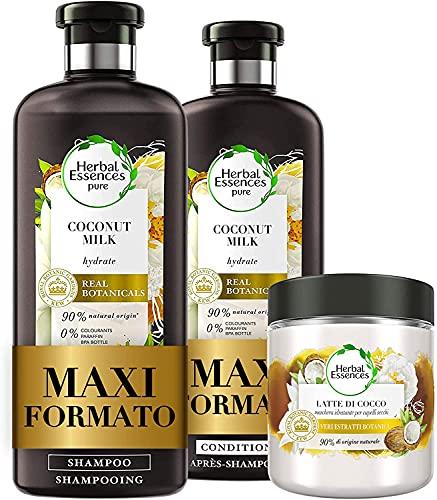 Herbal Essences Latte di Cocco: Shampoo 400 ml + Balsamo, 360 ml + Maschera 250 ml, Idratante, in Collaborazione con Giardini Botanici Reali di Kew