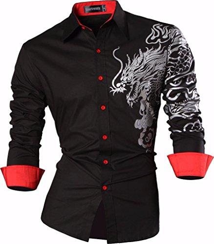 Sportrendy Uomo Camicie Unico Drago Cinese Tatuaggio Moda Tattoo Slim Shirts Men Top JZS041 Black M