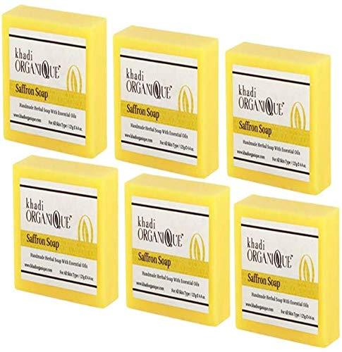 Glamorous Hub Khadi Organique Sapone artigianale allo zafferano con olio essenziale confezione da 6 (l'imballaggio può variare)