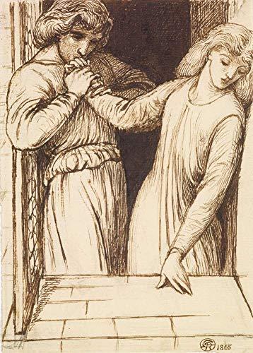 Dante Gabriel rossetti Hamlet and Ophelia. Composizione studio C1565250gsm lucido arte della riproduzione A3poster