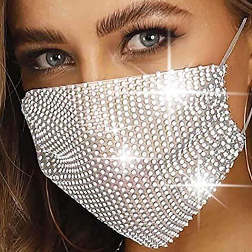 Simsly - Maschera per viso in rete con strass, riutilizzabile, in cristallo, per Halloween, discoteca, decorazione a rete, per donne e ragazze
