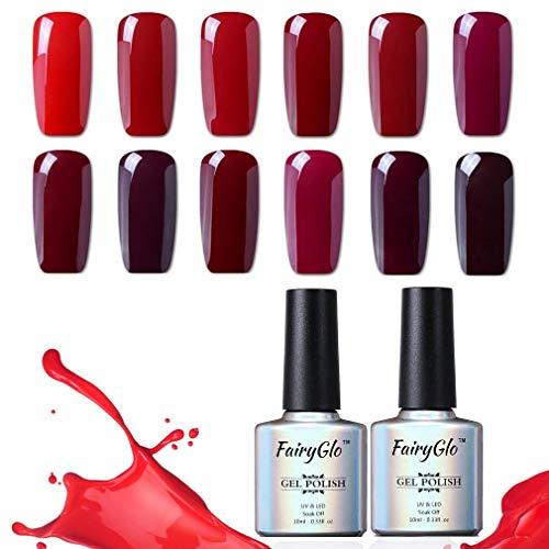 Smalto Semipermanente per Unghie UV LED Colori Vino Rosso Kit per Manicure Ricostruzione Unghie Smalti Semipermanenti Soakoff 12pz 10ml di Fairyglo-Rosso Kit 002