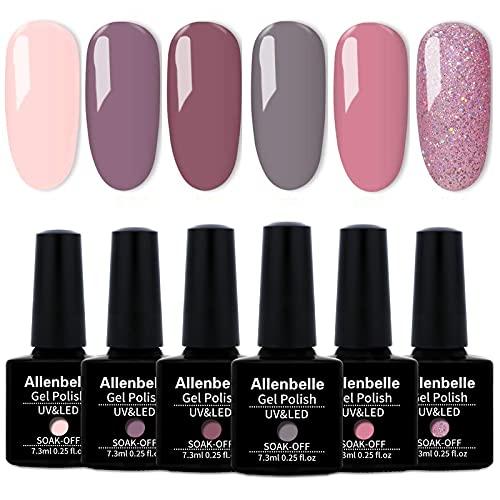 Allenbelle Smalto Semipermante Per Unghie Kit In Gel Uv Led Smalti Semipermanenti Per Unghie Nail Polish UV LED Gel Unghie(Kit di 6 pcs 7.3ML/pc) (017)