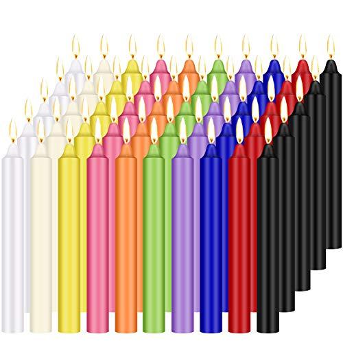 Tobeape Confezione da 100 Candele coniche da 4 Pollici, Mini Candele di Colori Assortiti Senza Profumo per lanciare Carillon rituali incantesimi Gioco di Cera veglia Stregoneria Forniture Wiccan