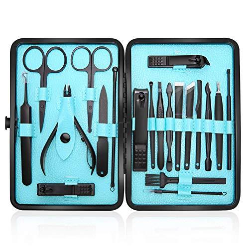 Tagliaunghie Set Professionale - Grooming Kit Strumenti per Manicure e Pedicure 20pcs con Box (blu)