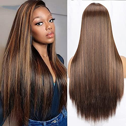 PORSMEER Parrucche marroni bionde Ombre Wigs sintetiche a lungo rettilineo con capelli sintetici