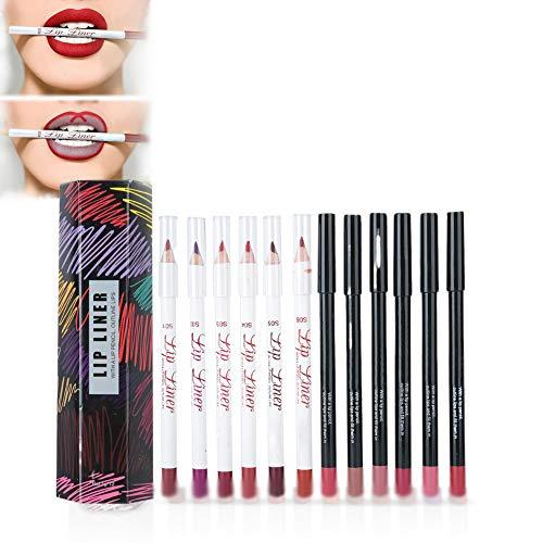 Matita per labbra, matita per labbra impermeabile a lunga durata Matita per labbra opaca, 12 colori/set Rossetto Trucco cosmetico Penna per matita per labbra sexy