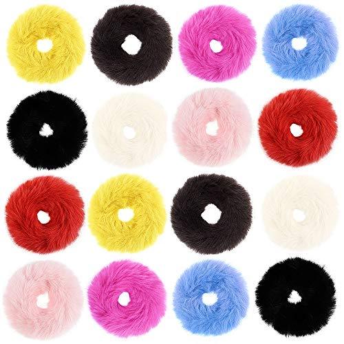 16 elastici per capelli in pelliccia di coniglio o peloso, per ragazze e ragazze, accessori per capelli