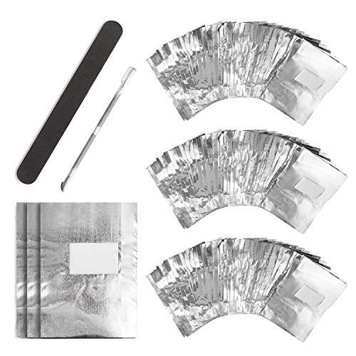 UNEEDE - Fogli di alluminio per rimuovere lo smalto, 300 pezzi, 1 spingi cuticole da manicure e 1 lima per unghie, strumento per rimuovere facilmente lo smalto