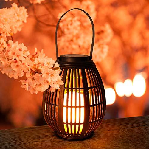 Lanterna Solare Candela GolWof LED Lanterna Solare Esterno Rattan Sospensione Solari Giardino Esterno Decorative Luce Impermeabile per Patio Portico Prato Cortile Feste
