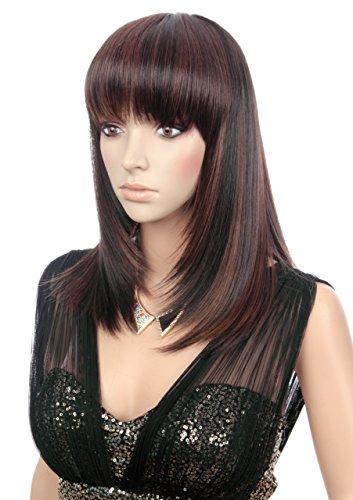 Prettyland Parrucca donna liscia e opaca come capelli veri aspetto naturale medio-lungo Nero E Marrone castana C721