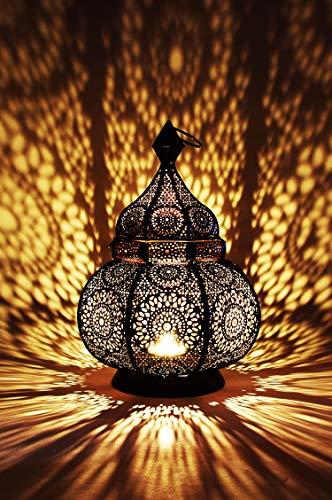 Lanterna portacandele orientale in metallo - Portacandele per giardino - Ziva Nero - trasmettere una buona atmosfera - passare un buon momento in giardino