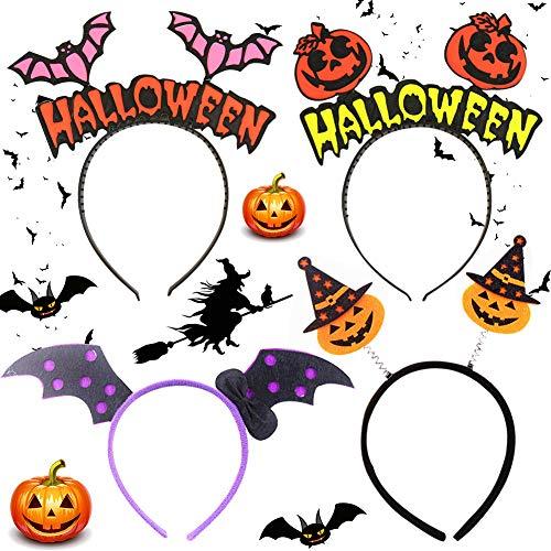 BESLIME Fascia per Halloween Fascia per Capelli di Halloween con Zucca, Cerchietto di Pipistrello, Giochi di Ruolo di Halloween, Accessori per Capelli Festa da Ballo da Festa - 4PCS