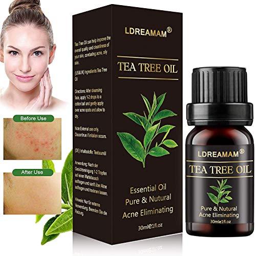 Olio di Albero del Tè,Tea Tree Essential Oil,Olio Di Tea Tree,Oli Essenziali,Allevia irritazioni cutanee comuni, pelle screpolata, cuticole e anti brufoli, anti-acne