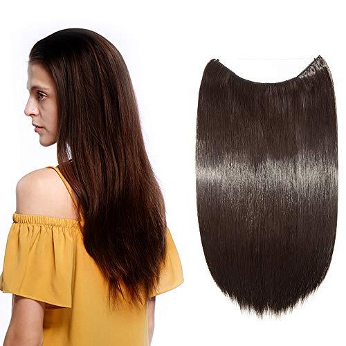 Silk-co 50cm Extension Capelli Finti Filo Invisibile Fascia Unica per Capelli Lisci Hair Extension con Filo Trasparente–Marrone Scuro