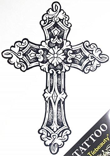 Finto tatuaggio a forma di croce, alla moda, per uomo