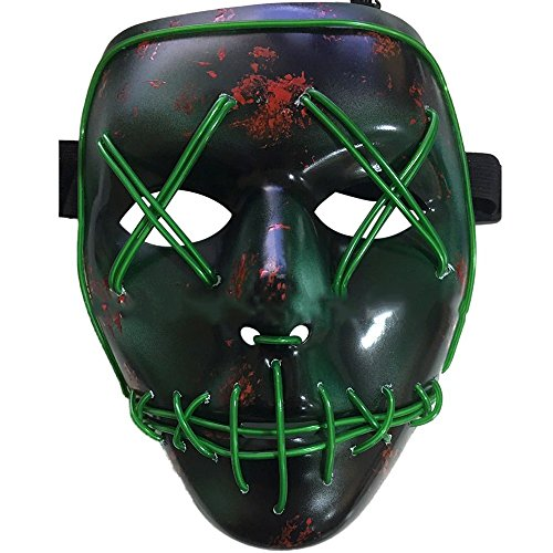 Knowing LED Adulti Maschere Without Battery con 4 modalità per Halloween Carnevale Natale Cosplay Feste (Verde)