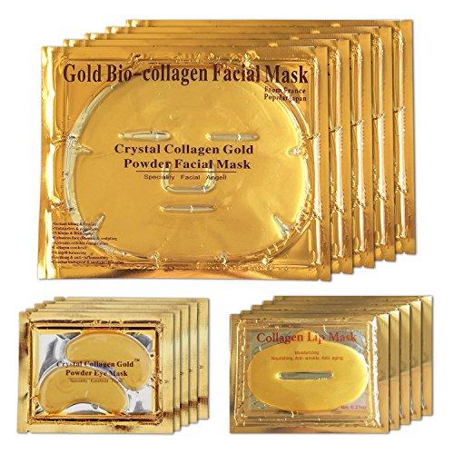 LeSB 5pcs 24k Gold Bio-collagen Facial Mask + 5pairs Gold Powder Eye Mask + 5pcs Gold Lip Mask (5sets/package)