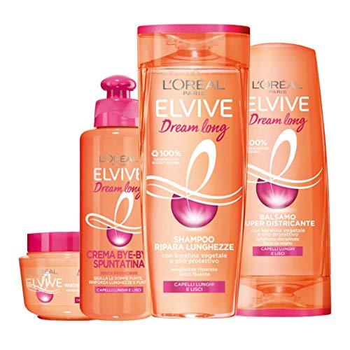 L'Oréal Paris Shampoo + Balsamo + Maschera + Trattamento Dream Long, Box Dream Long con Shampoo, Balsamo, Maschera e Crema Bye-Bye Spuntatina per Capelli Lunghi, Lisci e Danneggiati, Confezione da 4