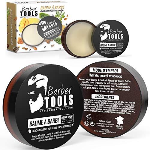 Balsamo per barba con oli naturali al 100% 60ml - MADE IN FRANCESE - Nutre, idrata e struttura. A base di 2 cere, 2 burri, 5 oli vegetali, 2 oli essenziali, vitamina E da BARBER TOOLS