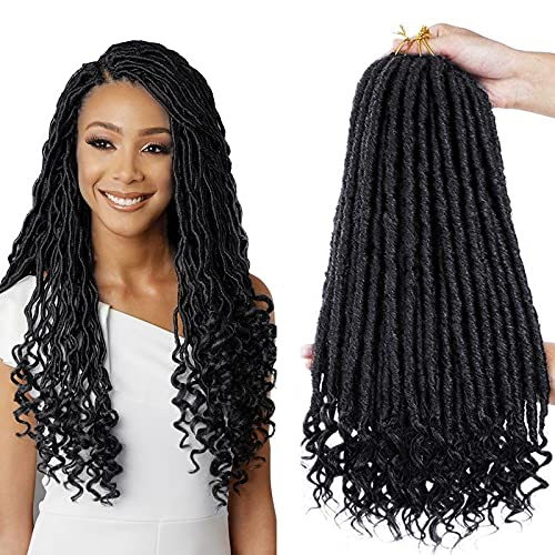 6 Packs Dea Faux Locs Crochet Hair 18 pollici Straight Goddess Locs Crochet Hair Hippie Locs Trecce sintetiche Estensioni dei capelli