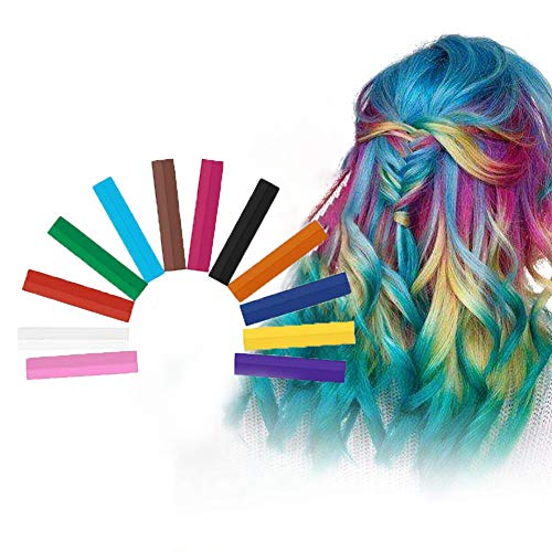 Hair Chalk, Colori Capelli Temporaneo, Capelli Gesso, Colore dei capelli lavabile, Tintura per capelli lavabile non tossica, Per feste di tintura per capelli per bambini, Cosplay - 12 colori