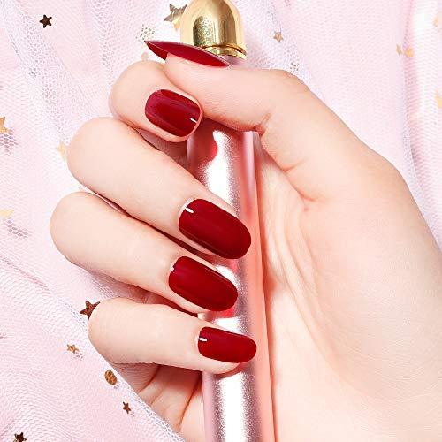 Liarty, 24 unghie finte ovali corte, 12 misure, tinta unita, colore rosso vino, eleganti unghie finte per matrimonio