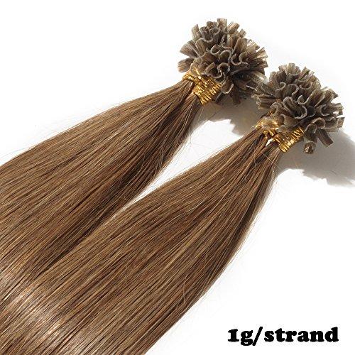 40cm Extension Cheratina Capelli Veri 1 Grammo 100% Remy Human Hair Extension Keratina Veri Pesa 50g, 6 Marrone Chiaro