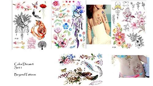 Set di 4 fogli di colori ad acqua, motivo floreale, piume, motivo tatuaggio