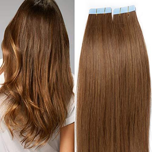 SEGO Extension Biadesive Capelli Veri Biadesivo 20 Ciocche Adesive Tape Extensions per Capelli Sottili 30g/Confezione Remy Human Hair (45cm, 6 Castano)