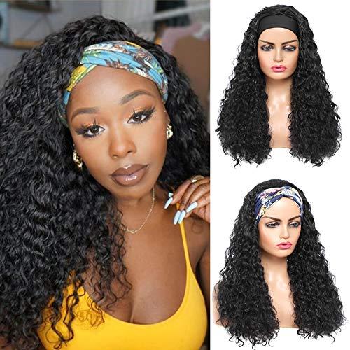 ROSEBONY Parrucche con fascia Capelli ricci per donne nere Parrucche ricci a onda con fascia Parrucca sintetica a onda d'acqua 22 pollici Parrucca nera lunga