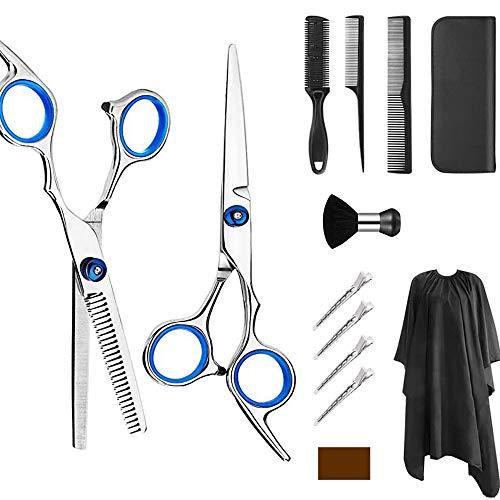 Kit di forbici professionali per parrucchiere, 6.0 Pollici di Forbici Acciaio Inossidabile 13 Set con forbici pettine per capelli, mantello, forbici da taglio e diradamento.etc